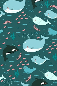 Seamless pattern with cute sea animals
