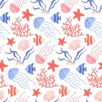 Seamless pattern with cute sea and ocean animals, corals and shells.