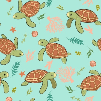 Seamless pattern with cute sea turtles. vector graphics.