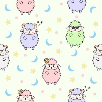 Seamless pattern with cute sheep character