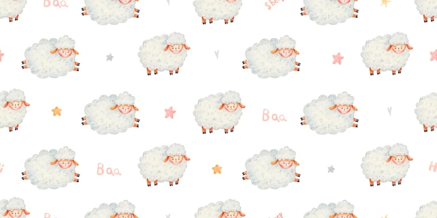Seamless pattern with cute sheep, hearts and stars