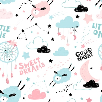 Seamless pattern with cute sheep and moon