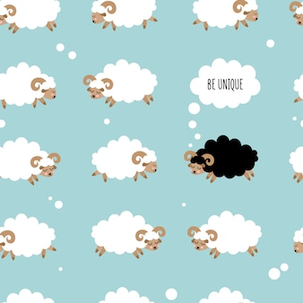 Seamless pattern with cute sheeps. be unique