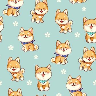 かわいい柴犬とのシームレスパターン