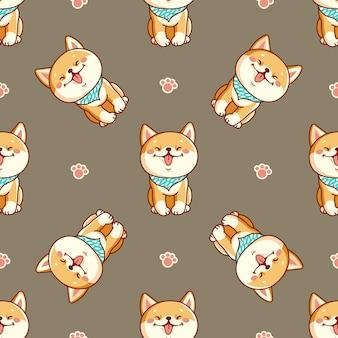 Seamless pattern with cute shiba inu