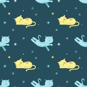 귀여운 잠자는 고양이 함께 완벽 한 패턴