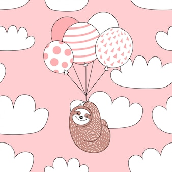 Seamless pattern with cute sloth with balloons.