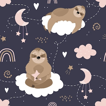 Seamless pattern with cute sloths on the clouds.