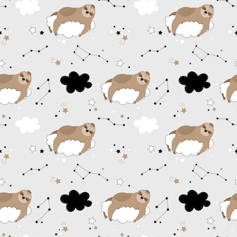 Seamless pattern with cute sloths on the clouds
