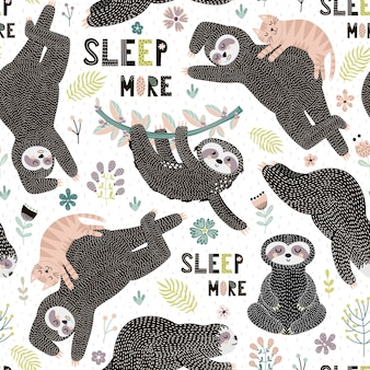 Seamless pattern with cute sloths, leaves, brunch