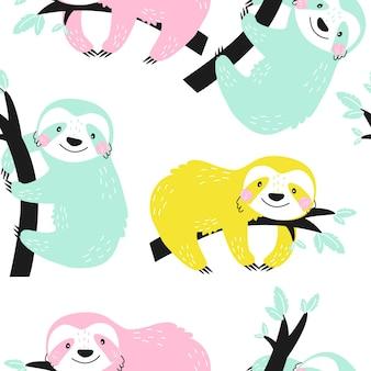 Бесшовный фон с милыми ленивцами на белом фоне векторные иллюстрации для печати