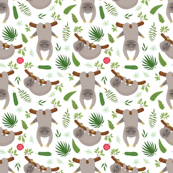 Seamless pattern with cute sloths