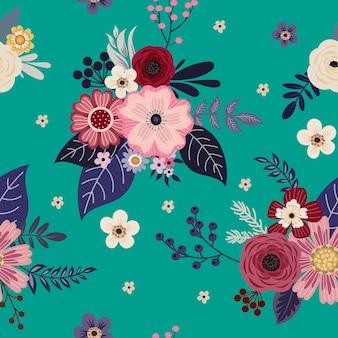 복고 스타일의 여름 드레스를 위한 귀여운 작은 꽃과 원활한 패턴