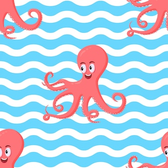 Seamless pattern with cute smiling coral octopus on wave ocean