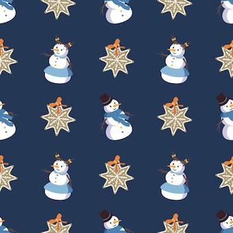 눈송이 모양의 귀여운 웃는 눈사람과 진저 쿠키와 함께 매끄러운 패턴입니다. 메리 홀리데이 프린트, 새해 및 크리스마스 장식. 겨울과 축제 배경