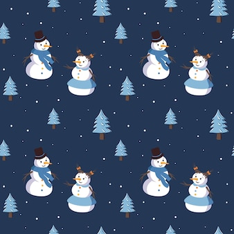 Seamless pattern with cute smiling snowmen and christmas trees. merry holiday print, new year decorations. winter and festive background