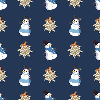 Seamless pattern with cute smiling snowmen and gingerbread cookies in the shape of a snowflake. merry holiday print, new year and christmas decorations. winter and festive background
