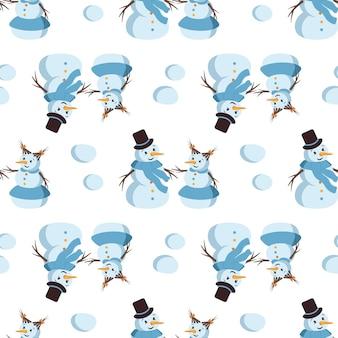 귀여운 웃는 눈사람 메리 홀리데이 프린트 새 해 장식 겨울과 축제와 함께 완벽 한 패턴...