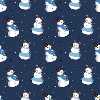 귀여운 웃는 눈사람과 함께 완벽 한 패턴입니다. 메리 홀리데이 프린트, 새해 장식. 겨울과 축제 배경