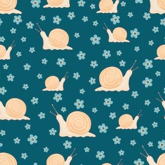 Бесшовный образец с милыми улитками и цветами. узор для ткани, текстиля, обоев, оберточной бумаги, одежды