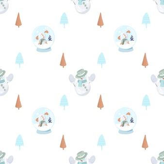 Бесшовный фон с милым снеговиком в вязаных варежках, простыми елками и снежным шаром