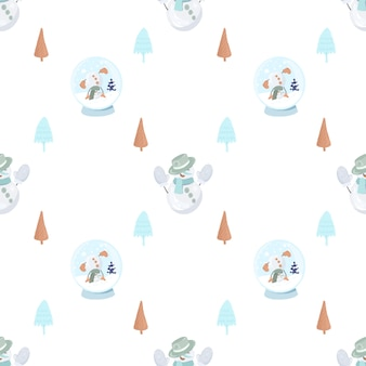 Seamless pattern with cute snowman in a knitted mittens, simple christmas trees and snowglobe
