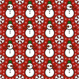 かわいい雪だるまと雪の結晶とのシームレスなパターン。伝統的なクリスマスカラーの明るい質感。テキスタイル、包装紙、カード、その他のデザインのフラットベクトルイラスト