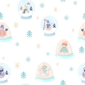 Бесшовный фон с милыми снеговиками в снежных шарах, простых елках и снежинках