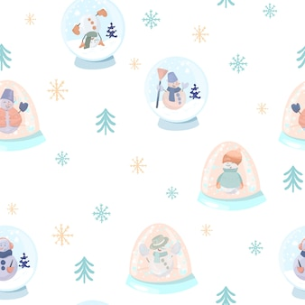 Seamless pattern with cute snowmen in a snow glass globes, simple christmas trees and snowflakes