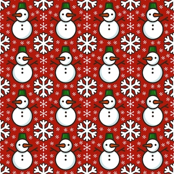 Seamless pattern with cute snowmen and snowflakes. bright texture with traditional christmas colors. flat vector illustration for textile, wrapping paper, cards and other design