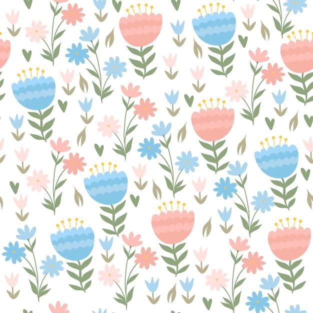 かわいい春の花とのシームレスなパターン。ベクトルグラフィックス。