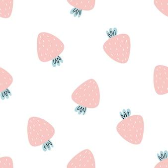 白い背景の上のかわいいイチゴとのシームレスなパターン印刷のベクトル図