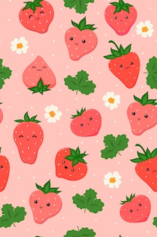 Seamless pattern with cute strawberries.