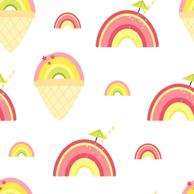 かわいい夏の虹とアイスクリーム、カクテルとのシームレスなパターン。壁紙、ファブリック、テキスタイル、包装紙のデザインの背景。ベクトルイラスト