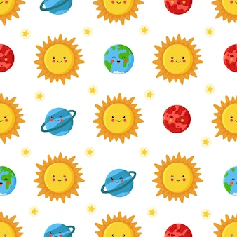 Seamless pattern with cute sun and planets