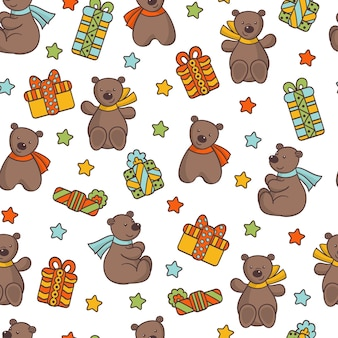 Seamless pattern with cute teddy bear in a scarf with a holiday gifts