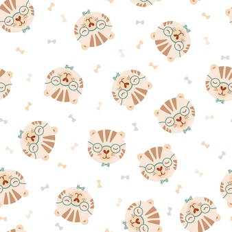 Seamless pattern with cute tiger in glasses and bow tie. background with wild animals in flat style. illustration for kids. design for wallpaper, fabric, textiles, wrapping paper. vector