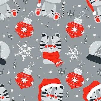 2022年のかわいい虎のシンボルと他のクリスマス要素とのシームレスなパターンベクトル図