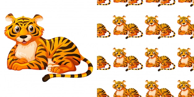 Seamless pattern with cute tiger