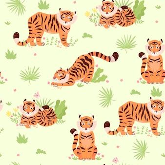 Бесшовный фон с милыми тиграми и растениями.
