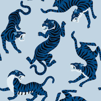 Seamless pattern with cute tigers on background.
