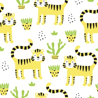 Seamless pattern with cute tigers and plant