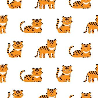 새로운 2022년 아이 패브릭 디자인의 귀여운 호랑이 상징과 함께 완벽 한 패턴