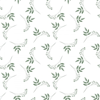 Seamless pattern with cute tiny flower branches with leaves