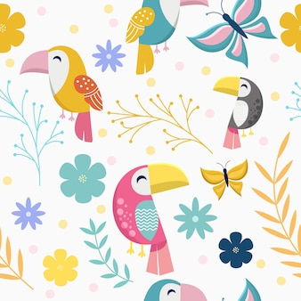 Seamless pattern with cute toucan and butterfly