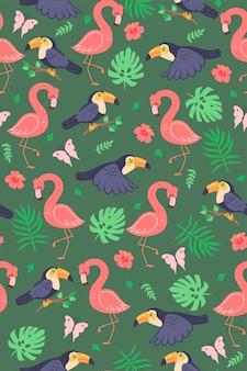 귀여운 큰부리새와 플라밍고가 있는 매끄러운 패턴입니다. 벡터 그래픽입니다.