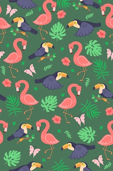 Seamless pattern with cute toucans and flamingos. vector graphics.