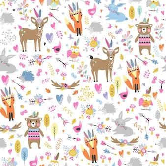 만화 스타일에 귀여운 부족 동물들과 함께 완벽 한 패턴입니다. 숲 친구 그림, 곰, 사슴, 여우, 고슴도치, 다람쥐, 올빼미.
