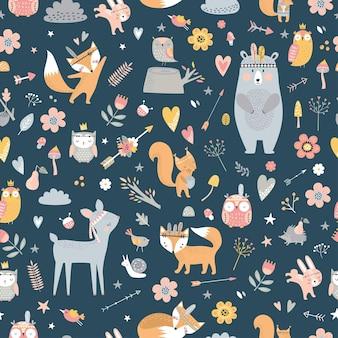 Бесшовный фон с милыми племенными животными в мультяшном стиле. иллюстрация лесных друзей, медведь, олень, лиса, ёжик, белка, сова.