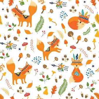 Seamless pattern with cute tribal foxes, autumn floral elements, arrows, leaves.